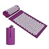Akupressurmatte, 66 x 42 cm, mit tragbarem Kopfkissen, 40 x 15 cm und einer Tasche Yantra-Matte / Blumenmatte – Akupressurmatte zur Linderung von Rückenproblemen, geeignet für Massagen
