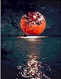 DIY Malen nach Zahlen Kits Mond Zeichnung auf Leinwand Bilder nach Zahlen Landschaft Handgemalte Bild Kunst Home Decor A16 50x70cm
