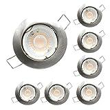 Deckeneinbauleuchte aus Aluminium, rund, Nickel, inklusive LED-Leuchtmittel GU10, 7 W, 520 Lumen, warmes Licht, 3000 K, Einbauloch Ø62 mm, 6 Stück