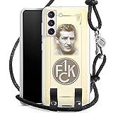 DeinDesign Carry Case kompatibel mit Samsung Galaxy S21 5G Hülle mit Kordel aus Leder Handykette zum Umhängen schwarz Silber 1. FC Kaiserslautern Logo 1. FCK