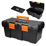 ECD Germany Werkzeugkasten Werkzeugkiste leer 50x25x23 cm mit Zwischenfach, aus Hartkunststoff, Abschließbar, Werkzeugbox Werkzeugkoffer Sortimentskoffer Montagekoffer Kasten für Heim- und Handwerker