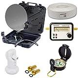 PremiumX Camping TV Sat Anlage Schüssel 35cm im Koffer Satfinder Single LNB 10m Kabel 2X F-Stecker inkl. Kompass