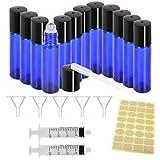 28 PCS Roll On Glasflaschen Zum Befüllen, Leere Glas Flaschen Edelstahl Kugel 20 x 10ml Cobalt Blue Glass Roll Flaschen für Duft Ätherisches Öl Roller Flaschen, mit 5 Trichter, 2 Spritze, 1 Aufkleber