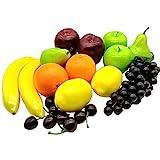 Aisamco 21 Stück künstliche Früchte Sortiert gefälschte Früchte lebensechte realistische Früchte für die Innenküche Restaurantdek