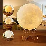 JOWHOL 12 cm 3D-Mond-Lampe, 3 Farben, dimmbares Nachtlicht mit Touch-Steuerung, wiederaufladbar per USB, Stimmungslicht für Schlafzimmer, Geschenk für Sie, Mädchen, Kinder