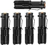 Taschenlampe LED - Taschenlampen Mini Handliche 350 Lumen Super Helle Zoombar ideal für Outdoor, Camping, Nachtfischen, Nachtreiten, Notfälle [5er PACK]