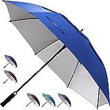 ZEKAR 137/172,7 cm, winddicht, groß, belüftet, UV-Schutz und klassischer Pongee-Stoff, Golf-Regenschirm, Doppel-Baldachin, Regen Sonne, übergroße Stock-Schirme für Damen und H