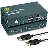 KVM Switch DisplayPort 2 Port DP 4K 60Hz, USB2.0, DP 1.2, DP KVM Switch 2 PC 1 Monitor, Button Switch, mit Kabel,Button Switch,KVM USB Umschalter