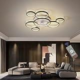 LED Deckenventilator Mit Lampe Moderne Invisible Fan Deckenleuchte Ultra-Leise Deckenventilator Mit Beleuchtung Esszimmer Schlafzimmer Wohnzimmer Dimmbar Deckenlampe Mit Fernbedienung,Schwarz,105cm
