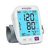Oberarm Blutdruckmessgerät, HYLOGY Digitales Blutdruckmessgerät mit Große Beleuchteter Bildschirm und Große Manschettensitzkontrolle, für Oberarmumfänge von 22-42 cm