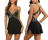 ADOME Damen Negligee Sexy Nachtwäsche Sleepwear Nachthemd Spitze Nachtkleid Lingerie Babydoll Dessous Unterwäsche Reizwäsche BH mit String,A-Schwarz,XXL