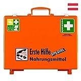 Söhngen Erste-Hilfe-Koffer Nahrungsmittel, Wandhalt, orange, ÖNORM Z 1020 Typ 1, mit Prüfplakette