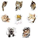 Gwotfy 3D Katzen Wandtattoo, 8 Stück Katzen Aufkleber Wand WC-Aufkleber Wandsticker Wandaufkleber wasserdichte Kühlschrankaufkleber Türaufkleber Küche Wand Dekor für Chlafzimmer Heimdek