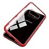 UNIYA Schutzhülle für Galaxy Note 8, magnetisch, gehärtetes Glas, magnetischer Metallrahmen, Aluminiumlegierung transparent/rot