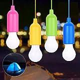 Pull Light Lampe 4PCS,KIPIDA Tragbare LED Campinglampe mit Zugschalter,Colors Glühbirnen Weiß LED Leuchte Mobile Leuchte für Garten Balkon Kleiderschrank Zelt Angeln Party Dekoration,Batteriebetrieben