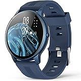 Smartwatch, AGPTEK 1,3 Zoll Armbanduhr mit personalisiertem Bildschirm, Musiksteuerung, Herzfrequenz, Schrittzähler, Kalorien, usw. IP68 Wasserdicht Fitness Tracker Uhr, für iOS und Android, Blau