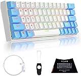 TMKB GK63 60% Tastatur Ultra-kompakte drahtlose mechanische Gaming-Tastatur Bluetooth 4.0 für Multi-Gerät, RGB-Hintergrundbeleuchtung programmierbar – OUTEMU roter S