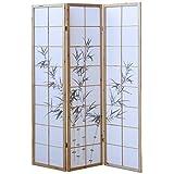 Homestyle4u 311, Paravent Raumteiler 3 teilig, Holz Natur, Reispapier Weiß Motiv Bambus, Höhe 175 cm
