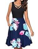 Moyabo Damen Kleider Sommer V-Ausschnitt Ärmelloses Vintage Midilänge Tank Kleid Blumen Strandkleid mit Taschen,Blaue Blume,L