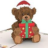 PaperCrush® Pop-Up Karte Weihnachten Teddybär - Süße 3D Weihnachtskarte mit Teddy für Sie (Frau, Freundin, Mutter) - Handgemachte Popup Weihnachtsgrußkarte für Frauen und Kinder