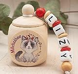 Milchzahndose mit Namen Mädchen KATZE rot Holz Zahnbox Milchzähne Geschenk Einschulung Schultüte Geburtstag