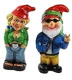 Gartenzwerg Deko Garten Figur Zwerg Zwergenpaar Zwergenfrau und Hippie aus Kunststoff H 32-33