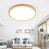LED Deckenleuchte, Japanischer Stil Modern Holz Deckenlampe,Mit Fernbedienung Runde Holz Lampe Für Wohnzimmer, Schlafzimmer, Esszimmer, Büro, Kinderzimmer Leuchte [Energieklasse A++] (60cm)