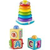 Fisher-Price GJW15 - Gigantische Farbring Pyramide, Stapelspielzeug mit Ringen für Babys und Kleinkinder, Baby Spielzeug ab 1 Jahr + DHW15 Spiel und Stapelwürfel Motorikspielzeug dreiteilig