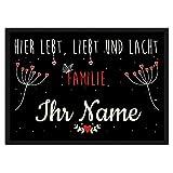 PR Print Royal Fußmatte mit Spruch - Lebt Liebt Lacht - Familie - Selbst Gestalten mit Wunschnamen - Schmetterling 75 x 50 cm