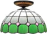 Deckenleuchte, Badezimmerleuchte Deckenleuchte, Buntglas Pendelleuchte Tiffany Deckenleuchte, Buntglas Schatten Tiffany Deckenleuchte Halbschattenhalterung für Esszimmer Wohnzimmer, a ( Color : A )