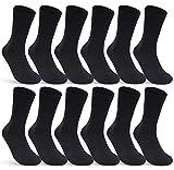6 | 12 | 24 Paar Socken Damen & Herren Schwarz Baumwolle (12 Paar | Schwarz 39-42)