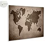 Magnettafel Pinnwand Magnetwand Weltkarte Landkarte Antik Farbe sepia, Größe 80 x 60 cm