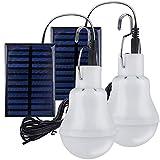 2 Stück Solar Glühbirne,TechKen Solarlampe LED Licht Tragbare Birne Solarlampen Lämpchen 3 W,3 m Ladekabel Solar Panel Beleuchtung für Camping,Wandern,Angeln,Gartenhaus MEHRWEG