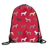 Nother Rucksack mit Pudel-Hunde-Design, mit Kordelzug, Polyester, für Schule, Reisen, Fitnessstudio, Yoga