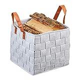 Relaxdays Filzkorb geflochten, faltbarer Aufbewahrungskorb Filz, Regalkorb mit Henkeln, HBT: 29 x 31 x 31 cm, hellgrau