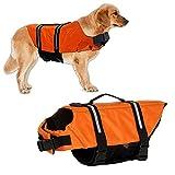 Hundeschwimmweste Schwimmweste Hund Schwimmtraining Mit Polsterung Mit Griff Dog Vest Lifejacket Größenverstellbar für Wassersicherheit am Strand, Pool, Bootfahren