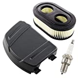 HURI Luftfilterabdeckung Luftfilter für Briggs & Stratton Serie 625E 625EXi 650EXi 675EXi 675IS Rasenmäher Motoren Ersetzt 594106 798452 mit Zündkerze BS-OHV RC12YC