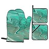 Full Frame Shot Smeared Green (2015) Ofenhandschuhe und Topflappen-Sets Hitzebeständige Küchenofenhandschuhe Topflappen-Heizkissen zum Kochen Backen Grill , 4-teiliges Set
