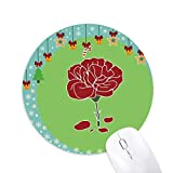 Roter Karneval Muttertag Blume Pflanze Maus Pad Jingling Bell Rund Gummi Mat