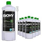 BiOHY Scheuermilch (9x1l Flasche) + Dosierer | entfernt eingebrannte Speisereste mühelos | gründliche Reinigung ohne zu kratzen | schonend zu Haut & Umwelt | für Emaille, Keramik & Edelstahl