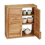 Relaxdays, natur Wandschrank aus Bambus, 2 Türen, höhenverstellbare Einlegeböden, Quadrat Hängeschrank, HBT 56,5x56x21