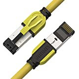 LINKUP - [40Gbps Zertifiziert] Cat8-Ethernet-Patchkabel Doppelt Geschirmt┃2000MHz (2Ghz) Cat8.1┃Zukunftssichere LAN-Kabel Kompatibel mit Cat7 Cat7A Cat6A 25G- 10G- 1G-Netzwerk┃Gelb┃1ft (0.3M)