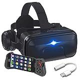JYMYGS 3D VR Brille, Premium Virtual Reality Headset mit drahtloser Bluetooth, Gaming Brille für 3D Spaß, für iPhone 12/11/X/8/7, Samsung S20/S10/Note10, Xiaomi, Huawei usw.