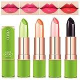 4 Stück Magischer Temperatur Farbwechsel Aloe Vera Lippenstift, Dulele Wasserdichte Langlebige Lippenbalsam Pflegender Lippenstift Kosmetik Make up (FFF)