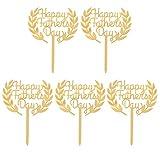 PRETYZOOM 5Pcs Gold Acryl Glücklich Vatertag Kuchen Topper Kuchen Picks für Vatertag Partei Dekoration Bringen Geburtstag Kuchen Dekor Geschenk für Vater