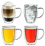 Creano doppelwandiges Thermoglas mit Henkel 250ml, großes Doppelwandglas aus Borosilikatglas, Kaffeegläser, Teegläser, 4er Set
