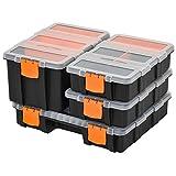 DURHAND 4PCS Werkzeugaufbewahrung Box Multifunktionales Werkzeugbox Sortierkasten Kleinteilemagazin Teile Kunststoff Orange+Schwarz 28,7 x 22,5 x 5,5 cm