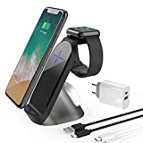 Kabelloses Ladegerät 3 in 1 Qi Schnelles Kabelloses Ladegerät 15W Wireless Charger Inductive Ladestation für iPhone 12/11/11 Pro/11 Pro Max/Xs/Xs Max/XR/X/8/8 Plus, Samsung, iWatch, AirPods
