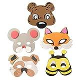 Zonster 5pcs Karikatur Tiermaske Lustige Masken-Performance-Props Cosplay Party Supplies Hundemaus Bier Bee (Random Style)
