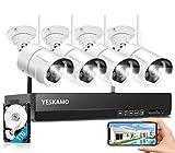 YESKAMO Überwachungskamera Set Flutlicht Aussen WLAN,3MP IP Cameras mit 8CH NVR 5MP Überwachungssystem mit 1TB HDD für Hausalarmanlagen mit AI PIR Erkennung,farbig Nachtsicht,Zweiweg Audio&